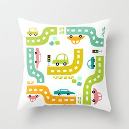 Cars, cars, cars! Watch out! Busy life in the city. Wall decor. Nursery abstract art.  Throw Pillow