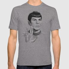 Spock Portrait Star Trek Mens Fitted Tee LARGE Tri-Grey