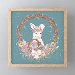Watercolor Easter Bunny Wreath Art Framed Mini Art Print