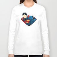 man of steel Long Sleeve T-shirts featuring Man of Steel by ALmighty1080