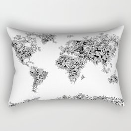 floral world map black and white Rectangular Pillow