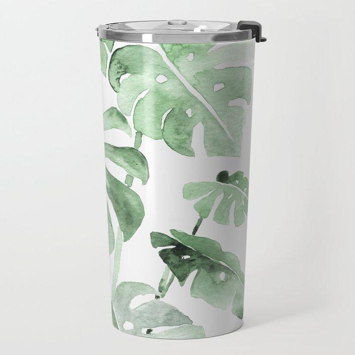 Delicate Monstera Green #society6 Travel Mug
