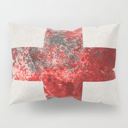 Medic - Abstract Medical Cross In Red And Black Pillow Sham