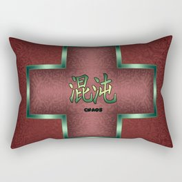 """Chaos"" Chinese Calligraphy on Celtic Cross Rectangular Pillow"