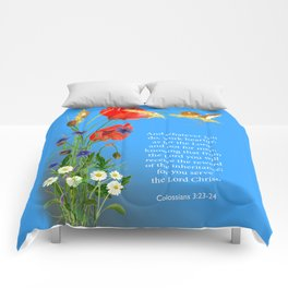 Colossians 3 23-24 Work Heartily as for the Lord and not for Men Harvest Mice Poppies Comforters