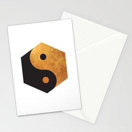 Yin Yang Geometrical Zen Meditation Yoga Gold Black Balance Minimalist   Stationery Cards