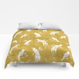 Birds of paradise mustard/white Comforters