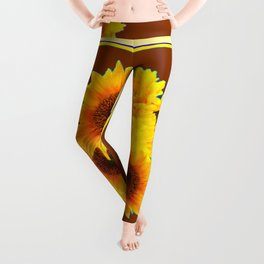 CHOCOLATE BROWN YELLOW SUNFLOWER BOUQUETS Leggings