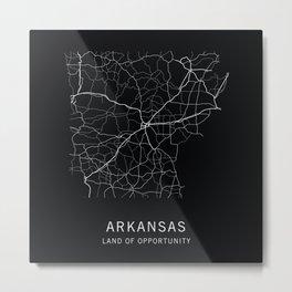 Arkansas State Road Map Metal Print