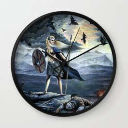 Valkyrie and Crows Wall Clock
