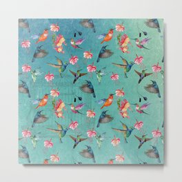 Vintage Watercolor hummingbirds and fuchsia flowers Metal Print