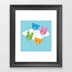 Kawaii Animal Balloons Framed Art Print