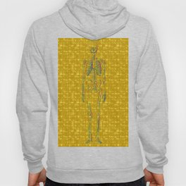 Human body skeleton on Gold-leaf Screen Hoody