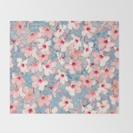 Shabby Chic Hibiscus Patchwork Pattern in Pink & Blue Throw Blanket