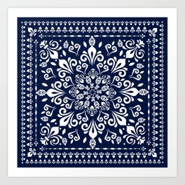 Oriental Damask white on blue #3 Art Print