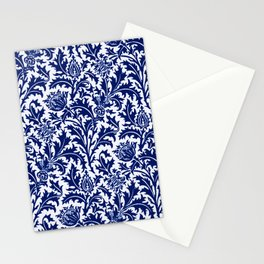 William Morris Thistle Damask, Cobalt Blue & White Stationery Cards