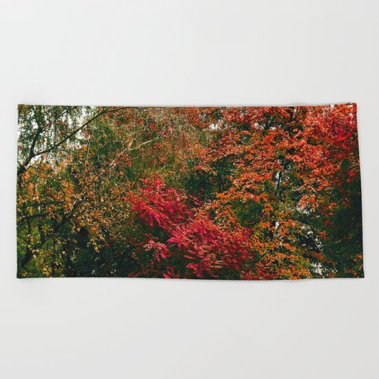 Autumn in the Garden Beach Towel