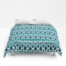 Blue white ornament Comforters