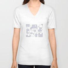 Squares - gray and white. Unisex V-Neck