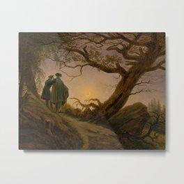 Caspar David Friedrich - Two Men Contemplating the Moon Metal Print