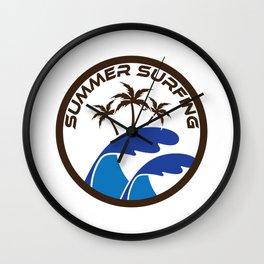 Fresh Hawaiian Style Tshirt Design Summer Surfing Wall Clock