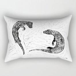 Swimming Otters Linoprint Rectangular Pillow