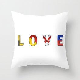 Love - Navy Code Throw Pillow