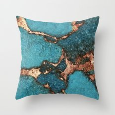 AQUA & GOLD GEMSTONE Throw Pillow