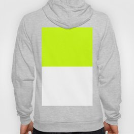 White and Fluorescent Yellow Horizontal Halves Hoody