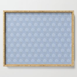 Dainty Spring Florals Pattern 1 ~ White & Grey Palette [ON DUSTY BLUE] Serving Tray