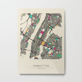 Colorful City Maps: Manhattan, New York Metal Print