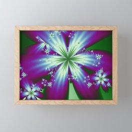 Purple Blue and Green Flowers Framed Mini Art Print