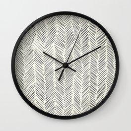 Herringbone Black on Cream Wall Clock