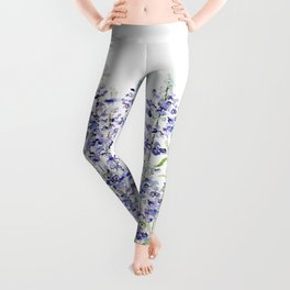 purple blue mealycup sage flowers watercolor   Leggings
