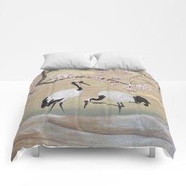Cranes Under Cherry Tree Comforters