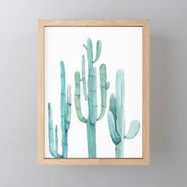 Cacti Fam Turquoise Framed Mini Art Print