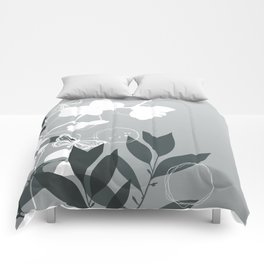 PPG Night Watch Pewter Green Botanicals and Butterflies Graphic Design Comforters