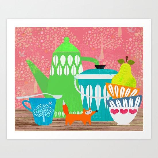 Still life with stuffed fox Art Print