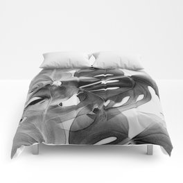 Black & White Monstera Comforters