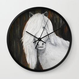 White Shetland Pony Painting Wall Clock