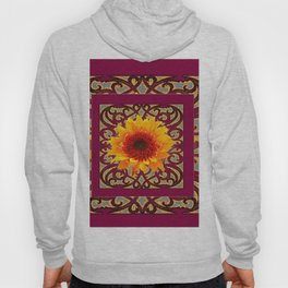BURGUNDY Colored Golden Sunflowers  Grey Pattern Hoody