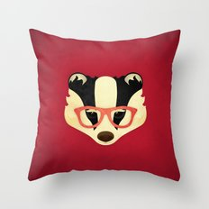 Hipster Badger: Red Throw Pillow