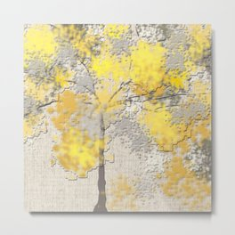 Abstract Yellow and Gray Trees Metal Print