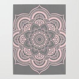 Mandala Flower Gray & Ballet Pink Poster