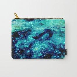 GALAXY. Teal Aqua Stars Carry-All Pouch