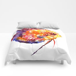 Rainbow Colored Yellow Red Orange Blue Discus, cute fish Comforters