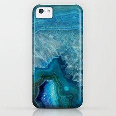 Blue faux druse crystal quartz gem gemstone geode mineral stone science specimen photograph hipster  iPhone 5c Slim Case