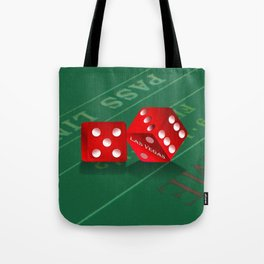 Craps Table & Red Las Vegas Dice Tote Bag