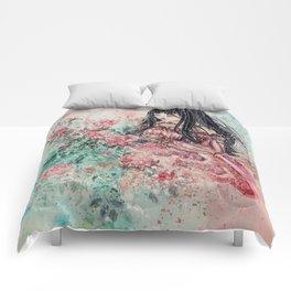 Rose Girl (Watercolor) Comforters