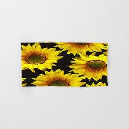 Large Sunflowers on a black background - #Society6 #buyart Hand & Bath Towel